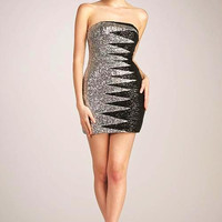 PRIMA CR130507 Black Silver Sequin Cocktail Homecoming Dress