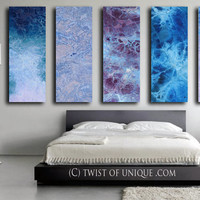 HUGE Oversized Abstract Painting / CUSTOM 5 Panel (48 Inches x 15 Inches) Large Modern Wall Art / Winter colors, blue, purple, white, indigo