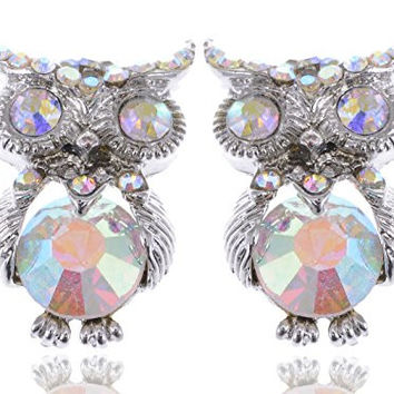 Cute Aurora Borealis Body Accent Crystal Rhinestone Owl Bird City Stud Earrings