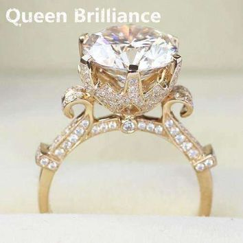Queen Brilliance Luxury Genuine 14k 585 Yellow Gold 5 Carat DEF Color Lab Grown Moissanite Engagement Diamond Ring For Women