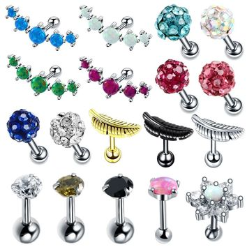 1PC Steel Ear Tragus Cartilage Piercings Ear Studs Helix Piercings Conch Lobe Earring Barbell Bar Piercings Orelha Cartilagem