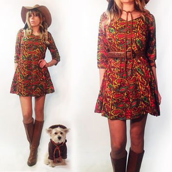 Vintage 1960's 1970's Paisley Dream Mini Boho Dress || Size Small Ethnic Baby Doll Dress