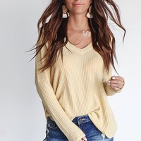 Inside Out Mango Waffle Knit Top
