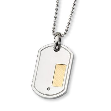Stainless Steel, 18k Gold Plated and Diamond Accent Dog Tag Necklace