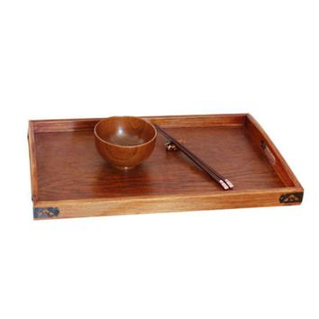 Mayitr 1pcs Wooden Serving Tray Wood Breakfast Tea Serving Bed Tray Dishes Plates With Handle For Tableware Brown