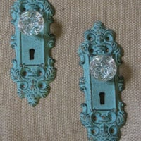 Two Ornate Aqua Gold Vintage Shabby Style Metal Door Knobs with Glass Look Knob Wall Hanger