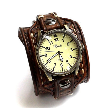 Hand tooled Leather Cuff Watch, Wrist Watch, Leather Men's watch, Leather Cuff, Bracelet Watch, Watch Cuff,