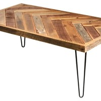 Herringbone Coffee Table, Hairpin Legs - Rustic - Coffee Tables - by Grindstone Design