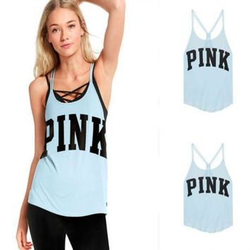 DCCKUH3 Victoria's Secret PINK Sleeveless sleeveless vest, blouse, T-shirt