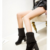 Buy Shoeland Block Heeled Knit Over-the-knee Boots | YesStyle