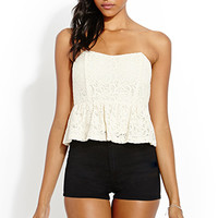 FOREVER 21 Love Story Lace Top Cream