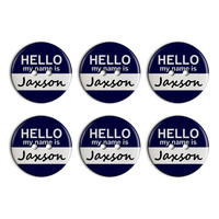 Jaxson Hello My Name Is Plastic Resin Button Set of 6
