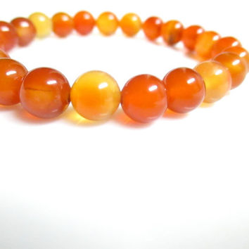 Carnelian Stretch Bracelet, Elastic beaded bracelets, Stretch bracelets, Meditation Bracelet, Bead Bracelet, Orange Bracelet