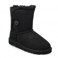 UGG Australia Bailey Button Junior Kids Black Suede Sheepskin High Top Boots