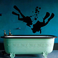 Wall Decals Boys Scuba Divers Diving Bubbles Vinyl Sticker Bathroom Decor KG670