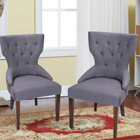European Style Armless Living Room Side Chair / Dining Chair Gray Fabric (Set of 2)