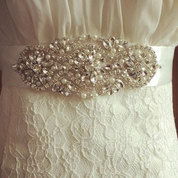 Handmade bridal sash pearl beaded belt bride wedding