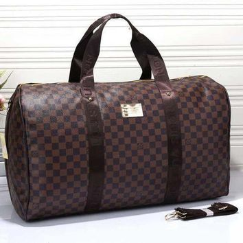 PEAPV9O LV Trending Fashion Tartan  Women Leather Luggage Travel Bags Tote Handbag Brown G
