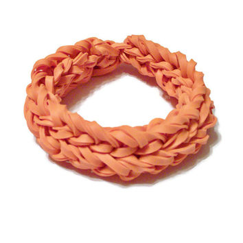 Orange Bangle Bracelet Made w/ Orange Rubber Bands - Fun Fashion Stretch Bangle Rubber Bracelet