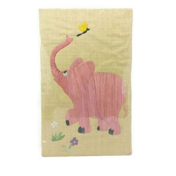 1960's Pink Elephant Raffia on Burlap Wall Hanging,Vintage Nursery Wall Art, Large Wall Decor, Kids Room Decor, Elephant Nursery, Gift Idea