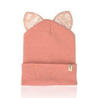 Milk & Soda Pernille Cat Ear Beanie in Pink
