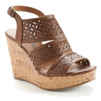 Mudd Women's Cutout Platform Wedge Sandals