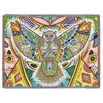 NATIVE AMERICAN GREAT HORNED OWL WOVEN AFGHAN THROW