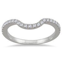 1/6 Carat Curved Diamond Wedding Band in 14K White Gold