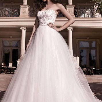 Casablanca Bridal 2137 Strapless Beaded Bodice Tulle Ball Gown Wedding Dress