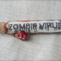 "Zombie Virus Vial bottle necklace Blood Howlelite skull stone copper 26"" chain Walking dead Day of the dead"