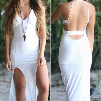 Aussie Babe White Slit Maxi Dress