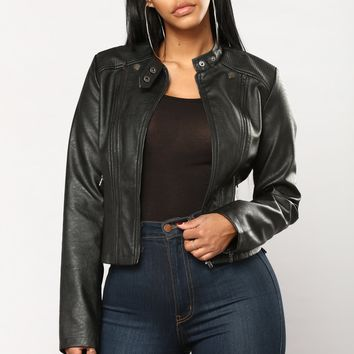 Been There Done That Faux Leather Jacket - Black
