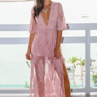 Light Mauve V-Neck Lace Maxi Romper