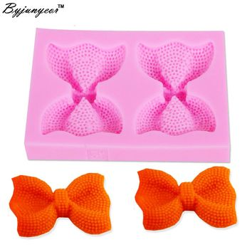 Byjunyeor M222 Bow Bowknot silicone mold Wedding Cake Decorating Craft Fondant Moulds Candy Molds Accessories 8.8*5.7*1.5cm