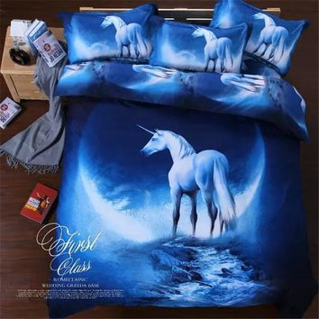 2017 3D Bedding Sets Universe Outer Space Blue Galaxy New 4/3pcs Quilt Duvet Cover Bed Sheet Sell Pillowcase Twin Queen