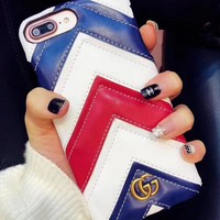 GUCCI The new popular logo gucci iphone7/8 iphone6plus skin pattern iPhoneX protector.