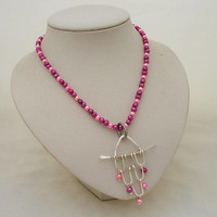 Pearls Necklace, Wire Wrapped Pendant, Hot Pink Pearls Necklace with Pendant