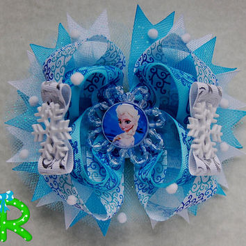 Elsa hair bow, frozen hair bow ,ott bow , Disney Boutique bow, Elsa layered Hair Bow,Ice Queen stacked Bow