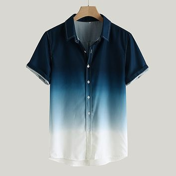 Men's shirts camisa Gradient Loose Male shirt blusa masculina Casual Short Sleeve Turn-Down Collar shirt men camisa masculina