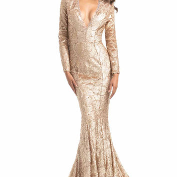 JOHNATHAN KAYNE 7025 Long Sleeve Sequin Plunging V-Neck Prom Evening Dress
