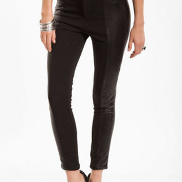 Vegan Leather Panel Pants $56