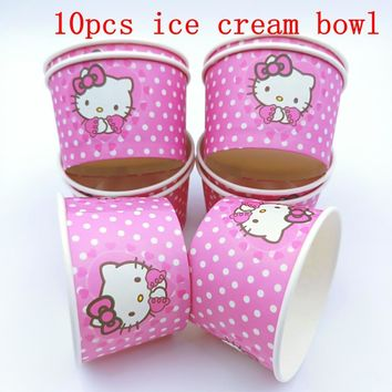10pcs/lot Hello Kitty theme ice cream cups baby shower party supplies Hello kitty ice cream bowl kids birthday party decoration