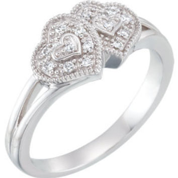 10K White 1-10 CTW Diamond Double Heart Promise Ring