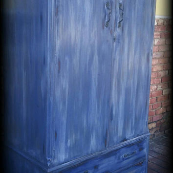 Vintage armoire, blue armoire, children's furniture, wardrobe armoire, Rustic armoire, painted armoire, shabby chic wardrobe, wardrobe