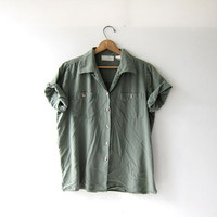 Vintage silk shirt. sage green brushed silk top. oatmeal silk blouse. button up tee. minimalist modern.