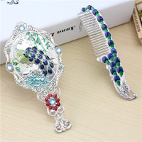 Retro Mirror Comb Mirror Set Peacock Handle Mirrors With Comb Women Beauty Princess Mirror Best Gift For Wedding