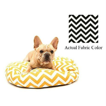 Small Dog Bed - Black And White Chevron
