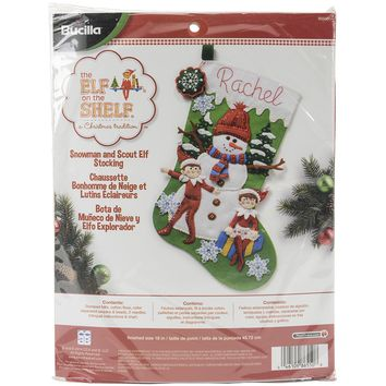 "Elf On The Shelf Bucilla Felt Stocking Applique Kit 18"" Long"