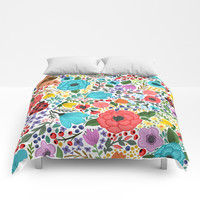 Colorful Vintage Spring Flowers Comforters by Smyrna