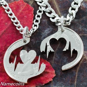 Heart Beat Couples Necklace, hand cut coin